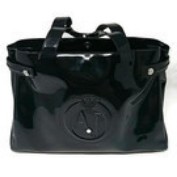 Armani Jeans Handbags - Armani Jeans Large Black Patent Tote Handbag be9afc341f2c4